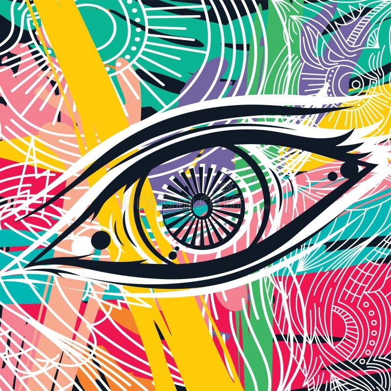 Abstrakt konst för Horus öga royaltyfri illustrationer