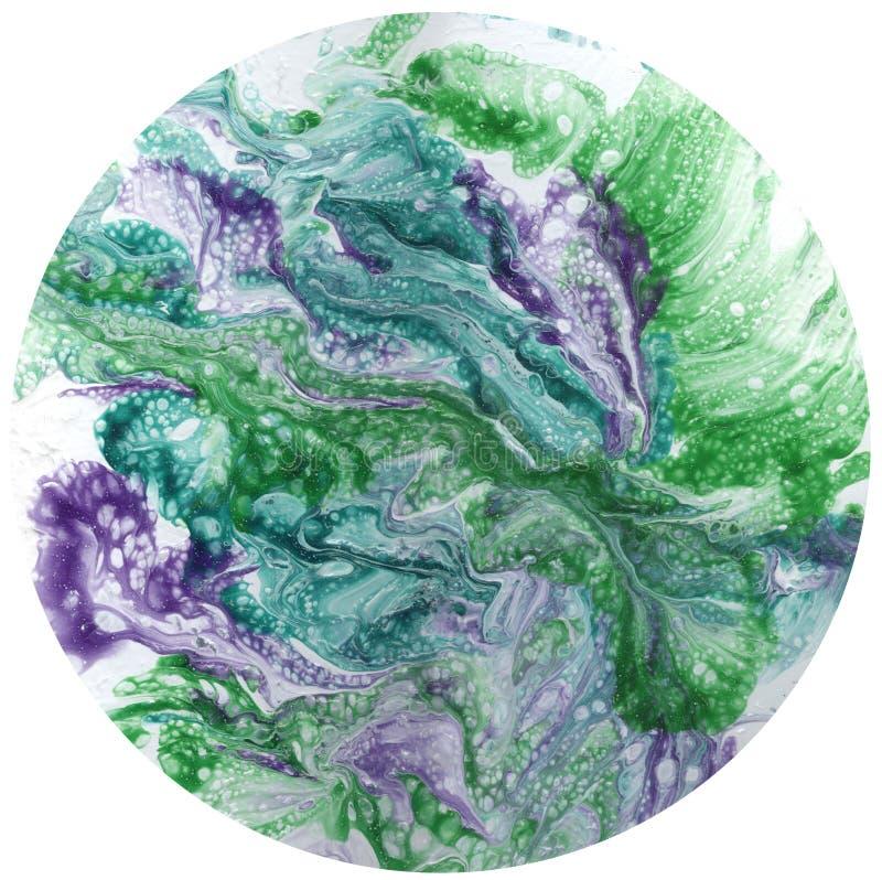 Abstrakt konst, abstrakt målning, abstrakt textur, färgcirkel på vit bakgrund, sfär på vit bakgrund stock illustrationer
