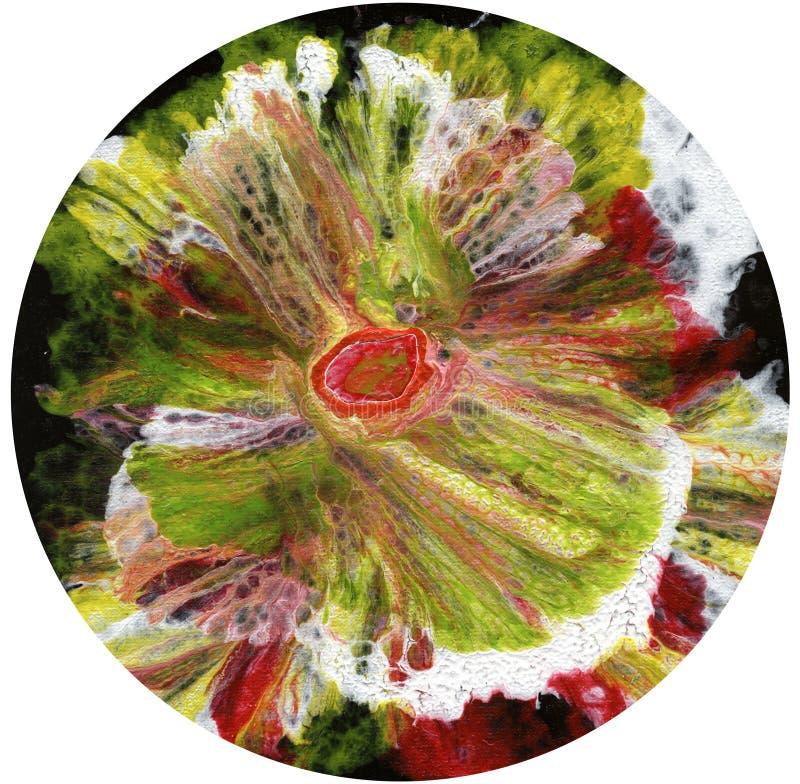 Abstrakt konst, abstrakt konst, abstrakt textur, mörker, blomma på vit bakgrund, cirkel på vit bakgrund stock illustrationer