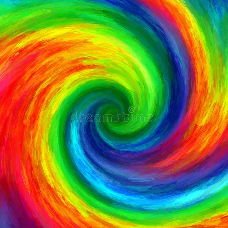 Abstrakt konst virvlar runt färgrik regnbågegrunge målar bakgrund vektor illustrationer