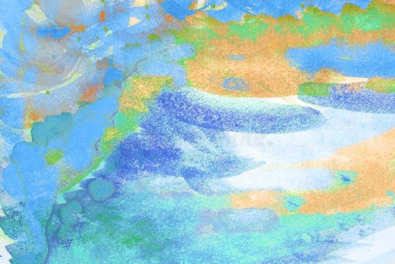 abstrakt konstbakgrund Oljemålning på kanfas Blått och orange textur Fläckar av olje- målarfärg Penseldrag av målarfärg modern ko vektor illustrationer