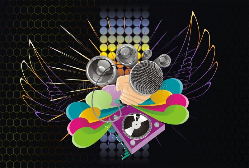 abstrakt konstbakgrundsmusik stock illustrationer
