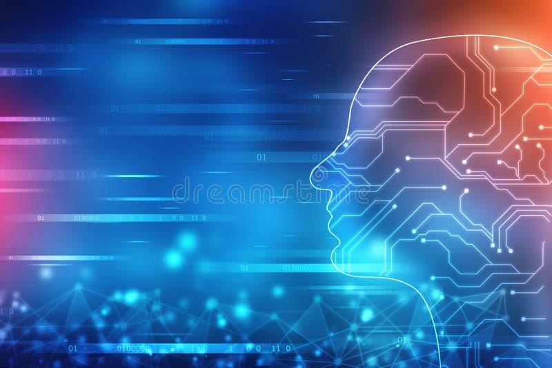 Abstrakt konstgjord intelligens Teknologirengöringsdukbakgrund Översikt för mänskligt huvud med binära koder royaltyfri illustrationer
