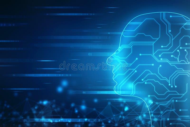 Abstrakt konstgjord intelligens Teknologirengöringsdukbakgrund Översikt för mänskligt huvud med binära koder stock illustrationer