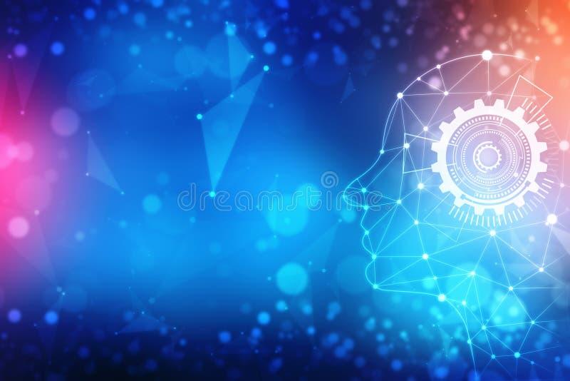 Abstrakt konstgjord intelligens Teknologirengöringsdukbakgrund, faktiskt begrepp, futuristisk abstrakt bakgrund royaltyfri illustrationer
