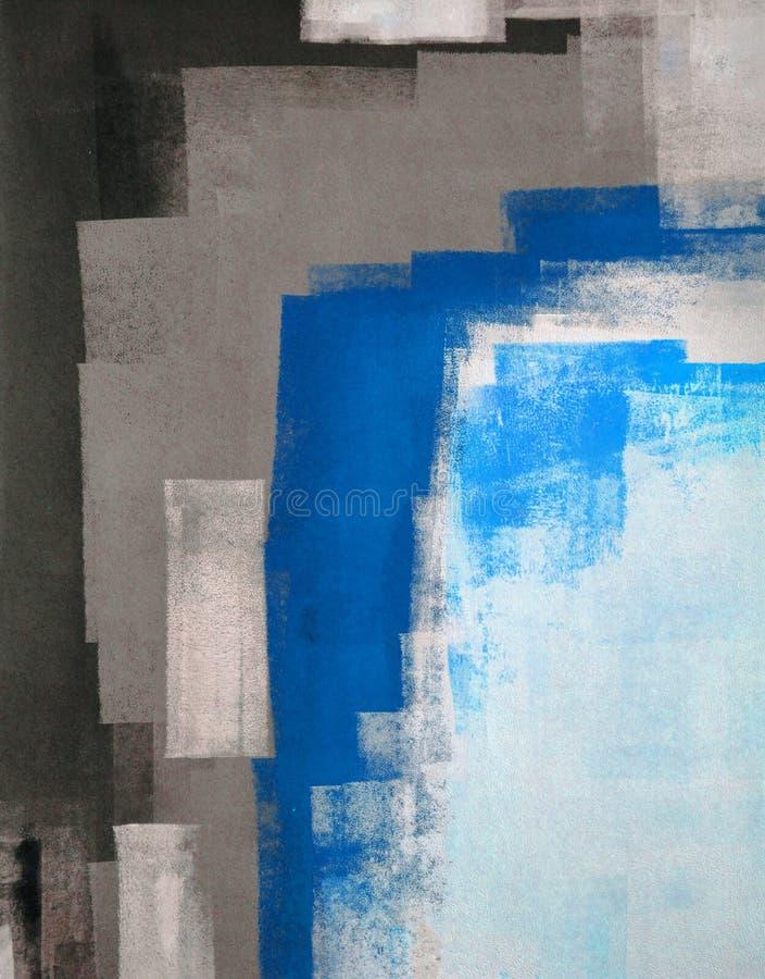 Abstrakt konstmålning för blått och för grå färg royaltyfria bilder