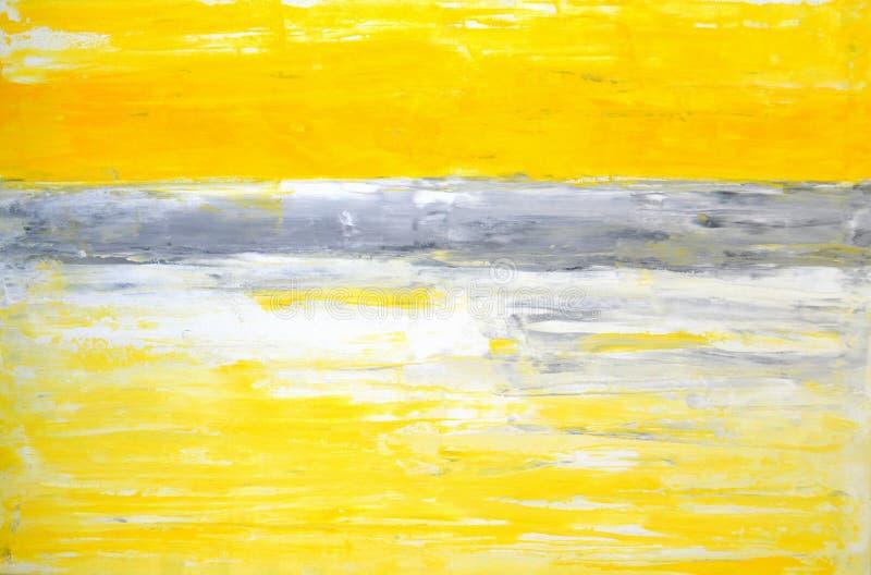 Abstrakt konstmålning för grå färg och för guling royaltyfria foton