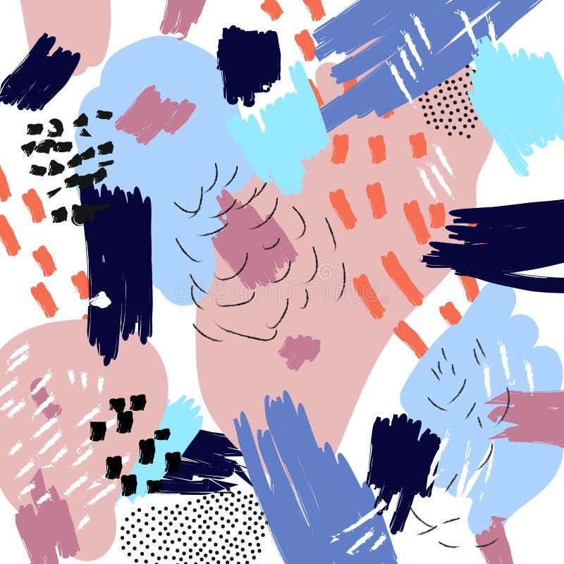 Abstrakt konstnärlig bakgrund för vektor Memphis stilcollage Frihandsmålarpenselslaglängder Moderiktig illustration för sommar stock illustrationer