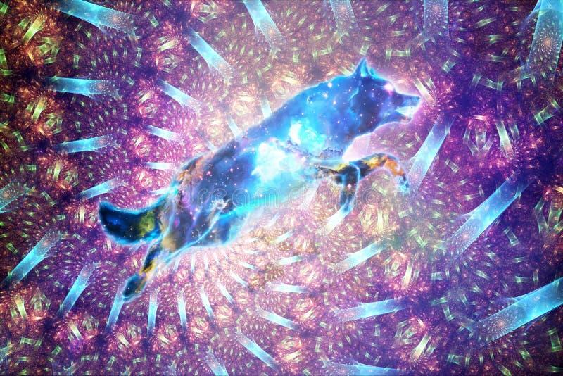 Abstrakt konstnärlig Digital målarfärg av en färgrika Wolf In en spiral Fractalbakgrund royaltyfri illustrationer