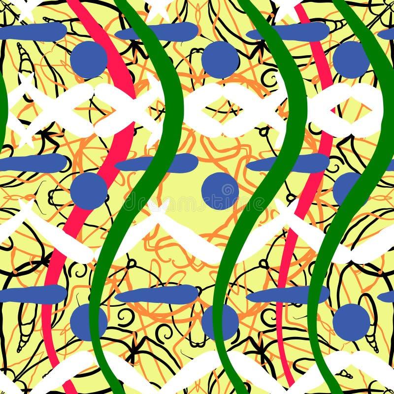 Abstrakt konstnärlig formkvarterbakgrund seamless modell vektor stock illustrationer