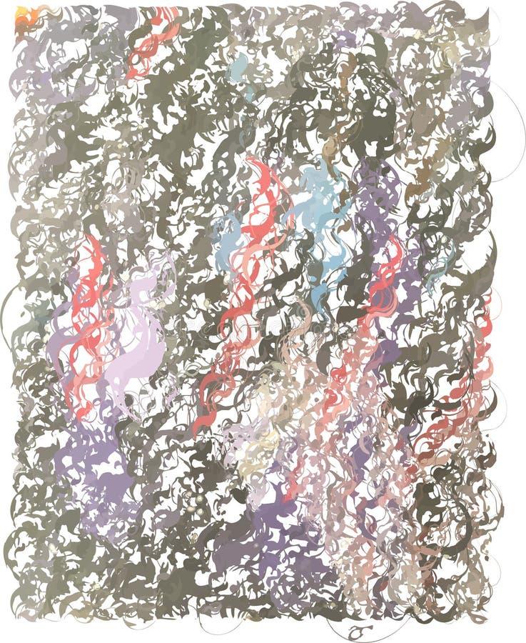 Abstrakt konstnärlig grå bakgrund med spiral för färgstänk för färg karmosinröda, blåa och violetta, med bruket av dekorativa bes vektor illustrationer
