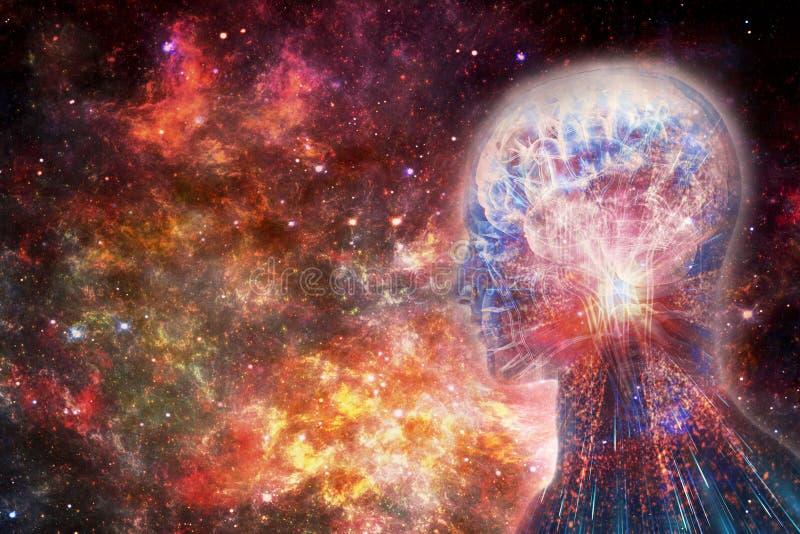 Abstrakt konstnärlig illustration 3d av en modern teknologisk mänsklig konstgjord intelligent manöverenhet i mångfärgad slät nebu stock illustrationer