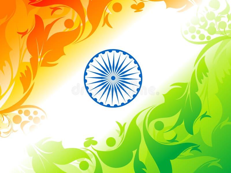Abstrakt konstnärlig indisk flaggabakgrund stock illustrationer