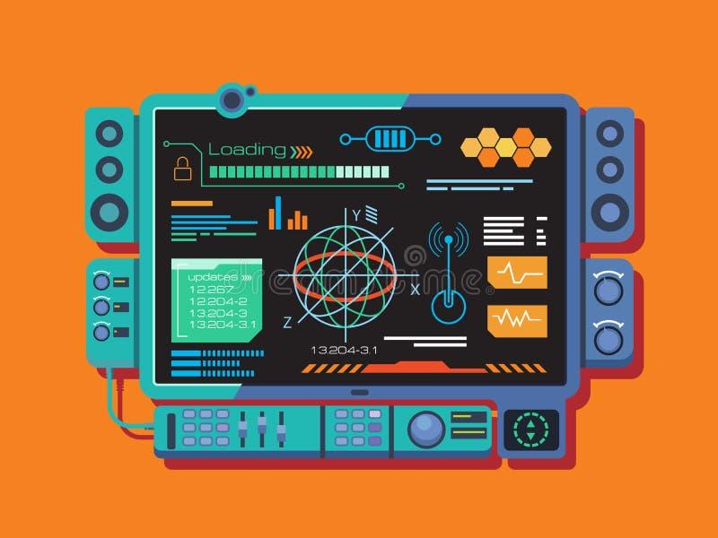 Abstrakt kontrollbord med en variation av data royaltyfri illustrationer