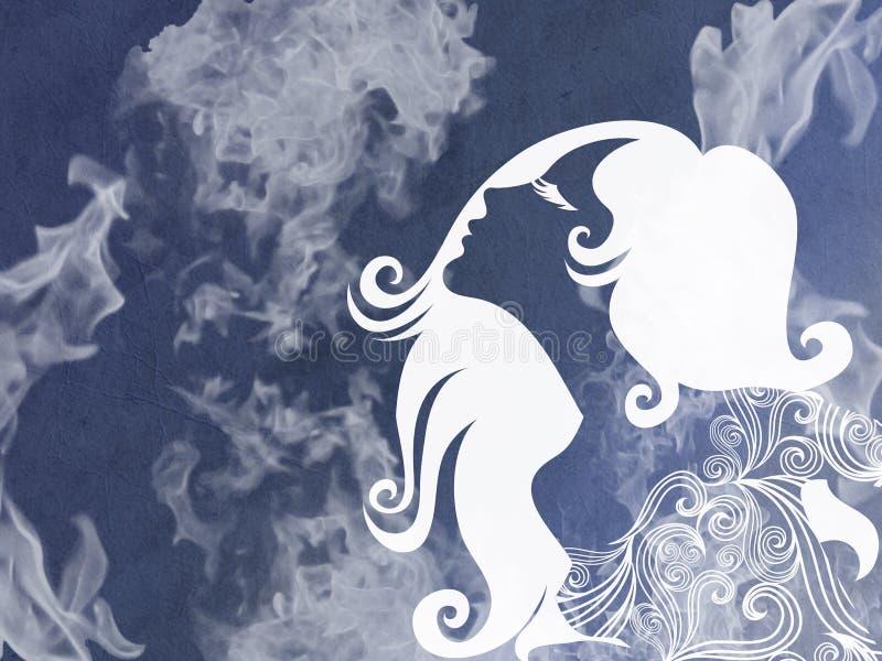 Abstrakt kontur av en härlig kvinna på en blå bakgrund royaltyfri illustrationer
