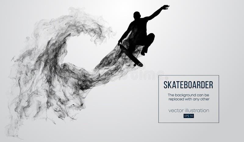 Abstrakt kontur av en skateboarder på den vita bakgrunden Skateboarderen hoppar och utför tricket vektor stock illustrationer