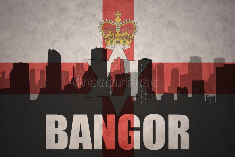 Abstrakt kontur av staden med text Bangor på den nordliga tappningen - Irland flagga vektor illustrationer