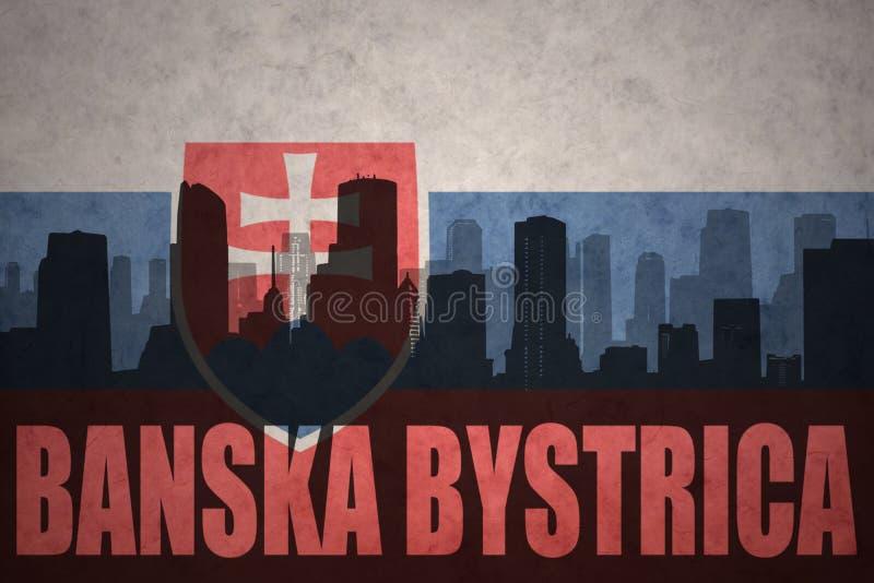 Abstrakt kontur av staden med text Banska Bystrica på den tappningSlovakien flaggan royaltyfri bild
