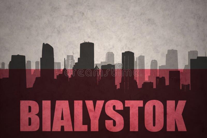 Abstrakt kontur av staden med text Bialystok på tappningpolermedelflaggan vektor illustrationer