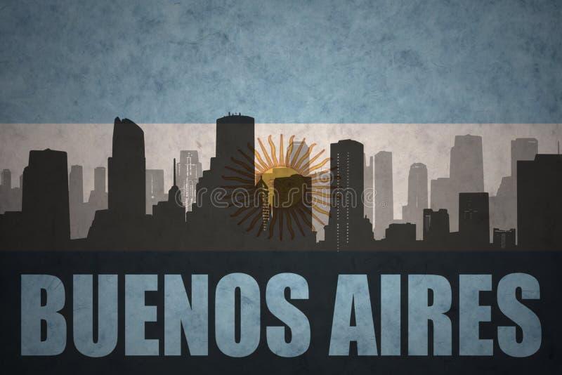 Abstrakt kontur av staden med text Buenos Aires på den argentinean flaggan för tappning royaltyfri illustrationer