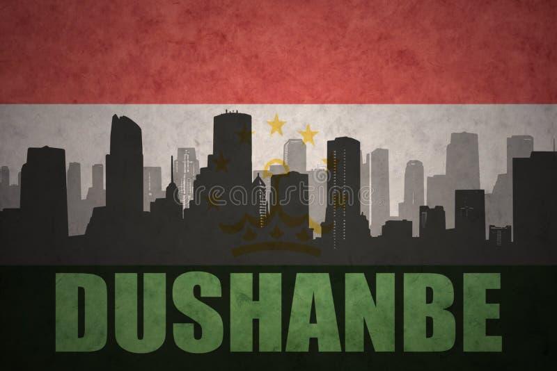 abstrakt kontur av staden med text Dushanbe på den tappningtajikistan flaggan vektor illustrationer