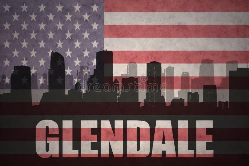 Abstrakt kontur av staden med text Glendale på tappningamerikanska flaggan vektor illustrationer