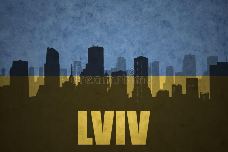 Abstrakt kontur av staden med text Lviv på den ukrainska flaggan för tappning vektor illustrationer