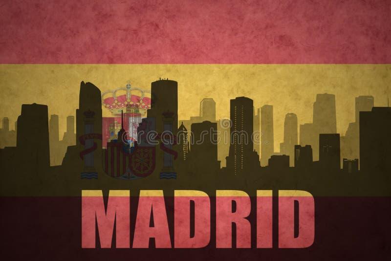 Abstrakt kontur av staden med text Madrid på den spanska flaggan royaltyfri fotografi