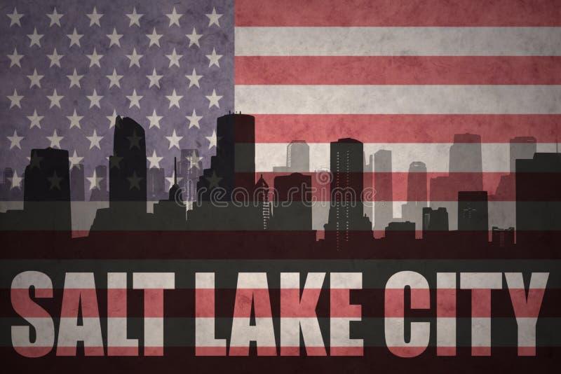 Abstrakt kontur av staden med text Salt Lake City på tappningamerikanska flaggan stock illustrationer