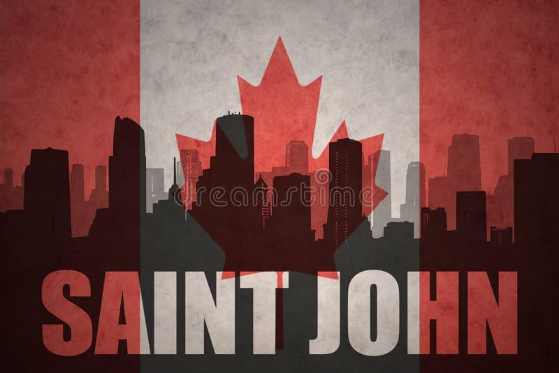 Abstrakt kontur av staden med text St John på den kanadensiska flaggan för tappning stock illustrationer