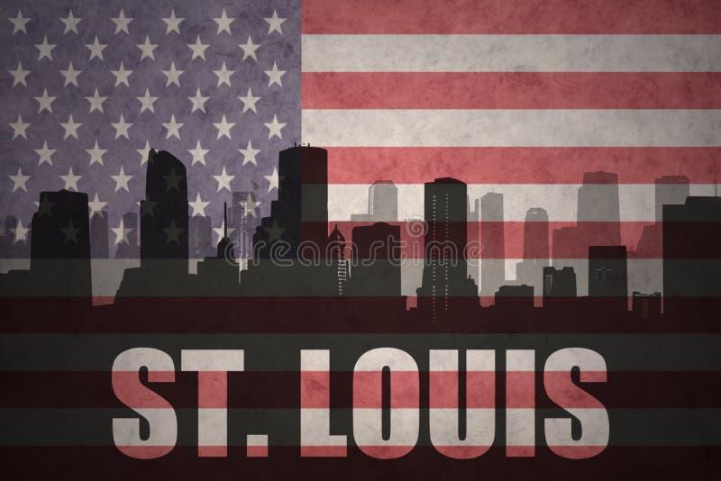 Abstrakt kontur av staden med text St Louis på tappningamerikanska flaggan stock illustrationer