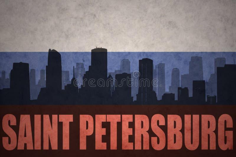 Abstrakt kontur av staden med text St Petersburg på tappningryssflaggan vektor illustrationer