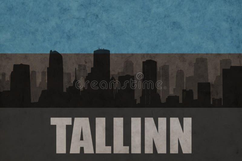 Abstrakt kontur av staden med text Tallinn på den estonian flaggan för tappning royaltyfria bilder