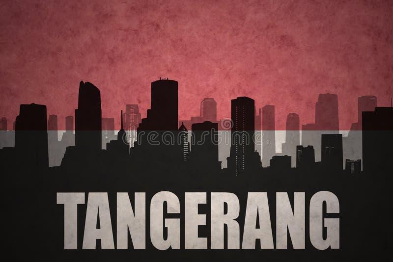 Abstrakt kontur av staden med text Tangerang på den indonesiska flaggan för tappning royaltyfria bilder