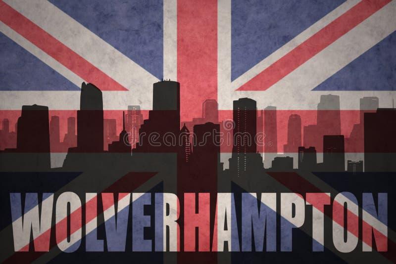 Abstrakt kontur av staden med text Wolverhampton på den brittiska flaggan för tappning royaltyfria foton