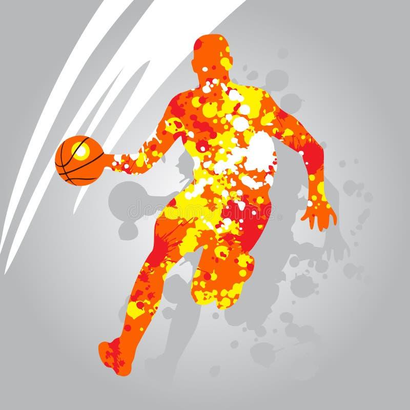 Abstrakt kontur för basketspelare stock illustrationer