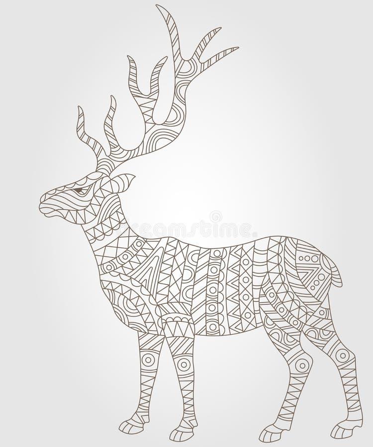 Abstrakt konturillustration med hjortar, mörk översikt på en ljus bakgrund stock illustrationer