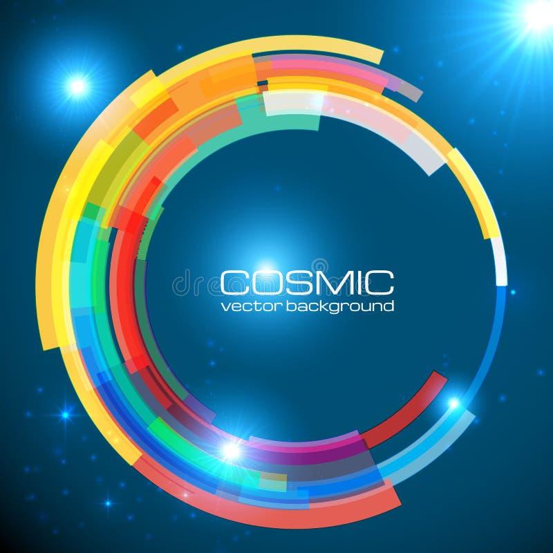Abstrakt kosmisk glänsande färgrik vektorcirkel stock illustrationer