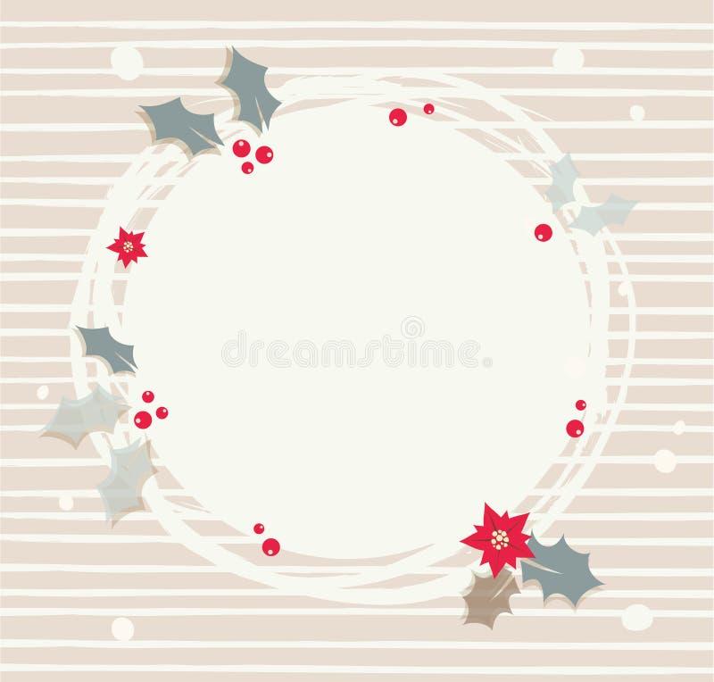 Abstrakt krans med röda bär s Rund ram för julkort royaltyfri illustrationer