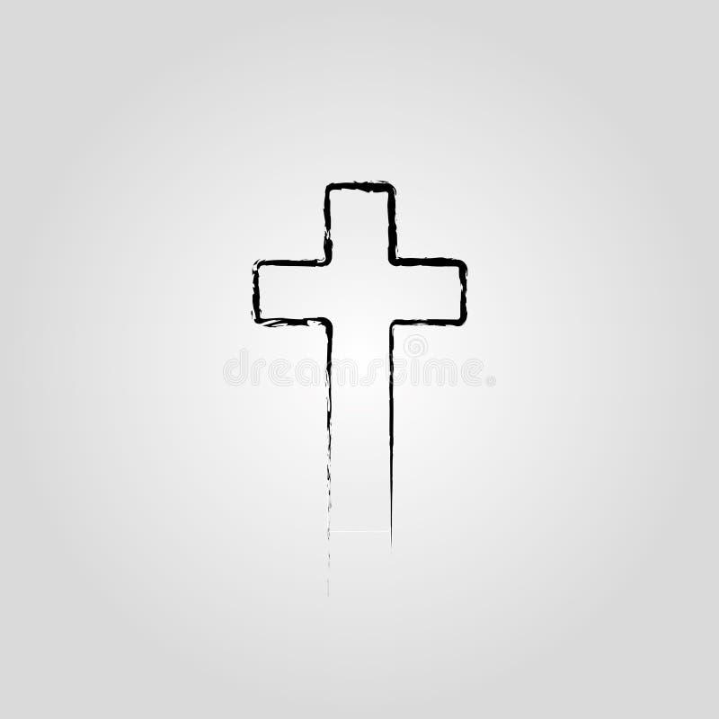 Abstrakt kristen korssvart i tecken för utdragen stil för hand kristet argt stock illustrationer
