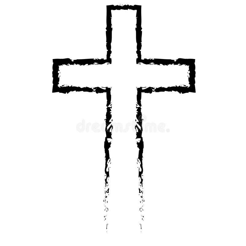 Abstrakt kristenkorssvart i hand dragen stil stock illustrationer