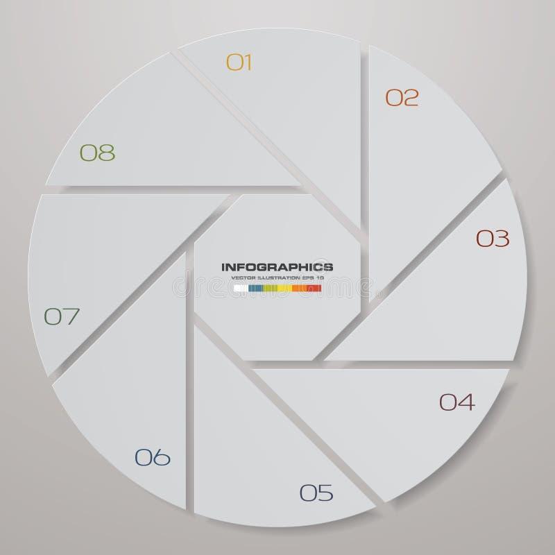 Abstrakt 8 kroczy nowożytnych pasztetowej mapy infographics elementy również zwrócić corel ilustracji wektora ilustracja wektor