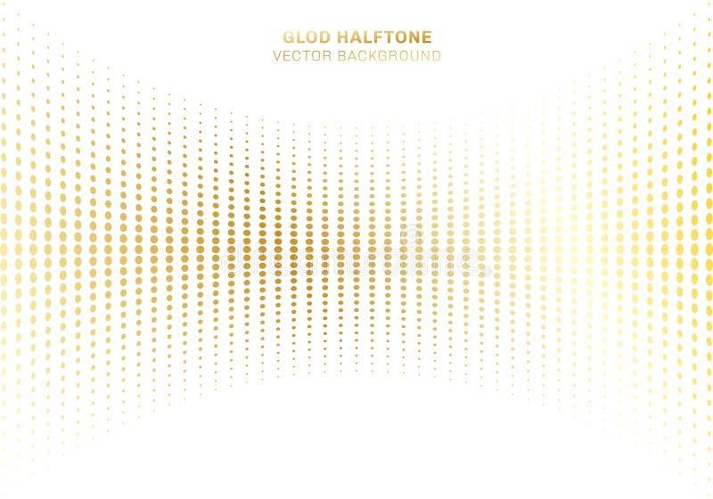 Abstrakt kropek wzoru koszowy złocisty halftone na białych tło luksusu stylu elementach royalty ilustracja