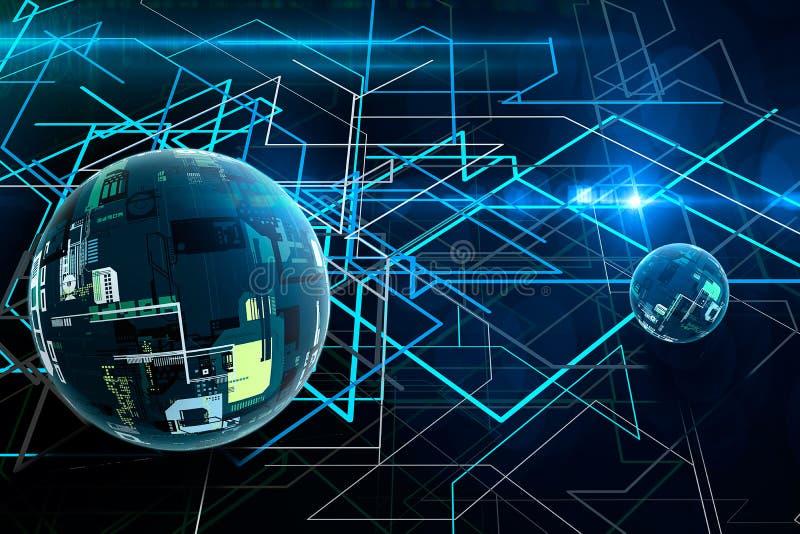 Abstrakt kryptografi 3D och stor databoll Modern kommunikationsteknologi svart linje white för bakgrund royaltyfri bild