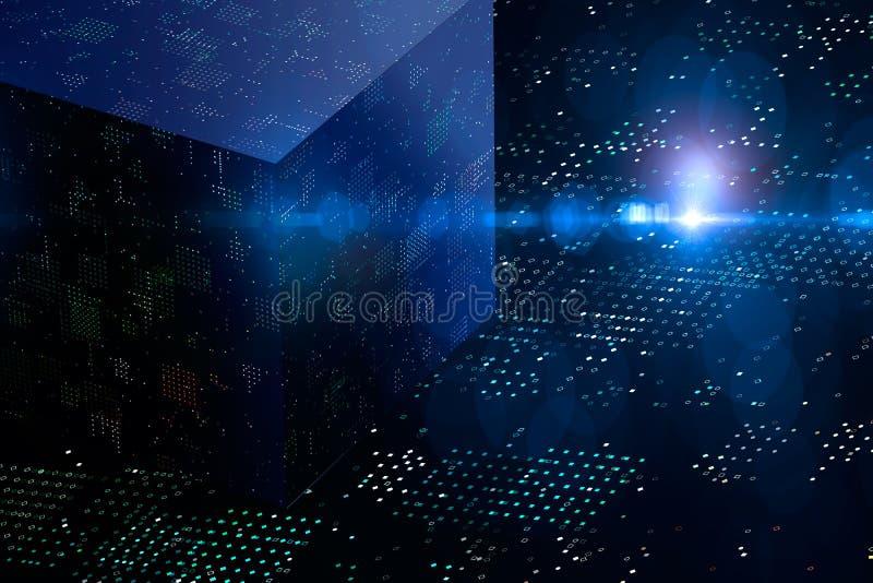 Abstrakt kryptografi 3D och stor datakub Modern kommunikationsteknologi Prickig bakgrund royaltyfri illustrationer