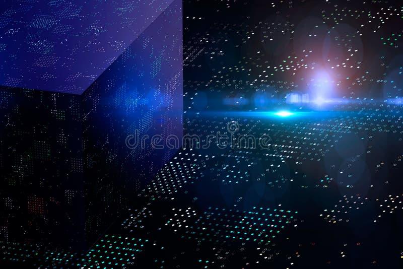 Abstrakt kryptografi och stor kub för data 3D Modern kommunikationsteknologi Prickig bakgrund royaltyfri illustrationer