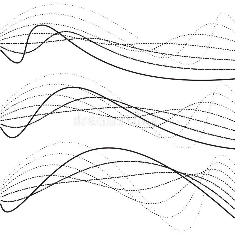 Abstrakt krzywy, kropkowane linie ilustracja wektor