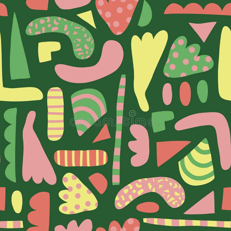 Abstrakt kształtuje bezszwowego wektoru wzór Prości elementy menchia, kolor żółty, zielony tło skandynawa styl Nowożytny szczęśli royalty ilustracja