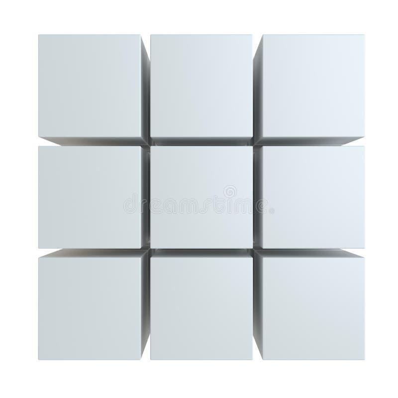 Abstrakt kub som monterar från kvarter vektor illustrationer
