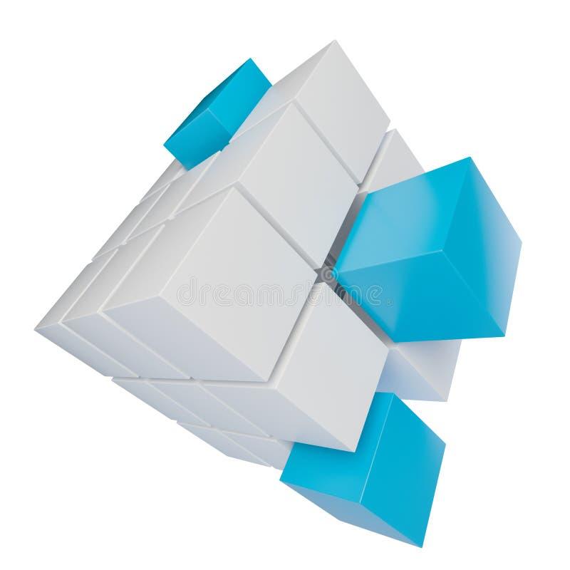 Abstrakt kub som monterar från kvarter stock illustrationer